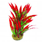 "Betta 10"" Green & Red Plastic Plant W/ Sand Base"